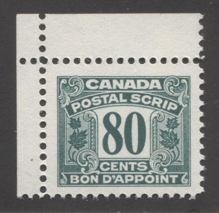 Canada #FPS39 80c Deep Myrtle Green, 1967 Second Postal Scrip Issue, Very Fine Mint NH Brixton Chrome