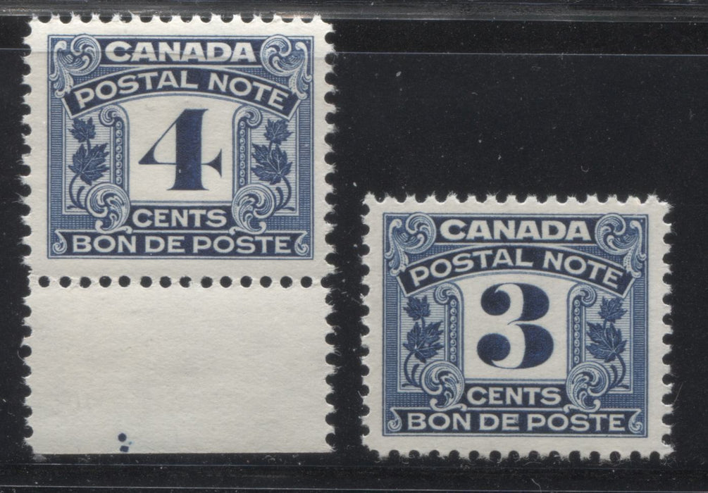 Canada #FPS5-6 3c-4c Deep Blue 1932-1948 First Postal Scrip Issue, Two Very Fine NH Examples Brixton Chrome