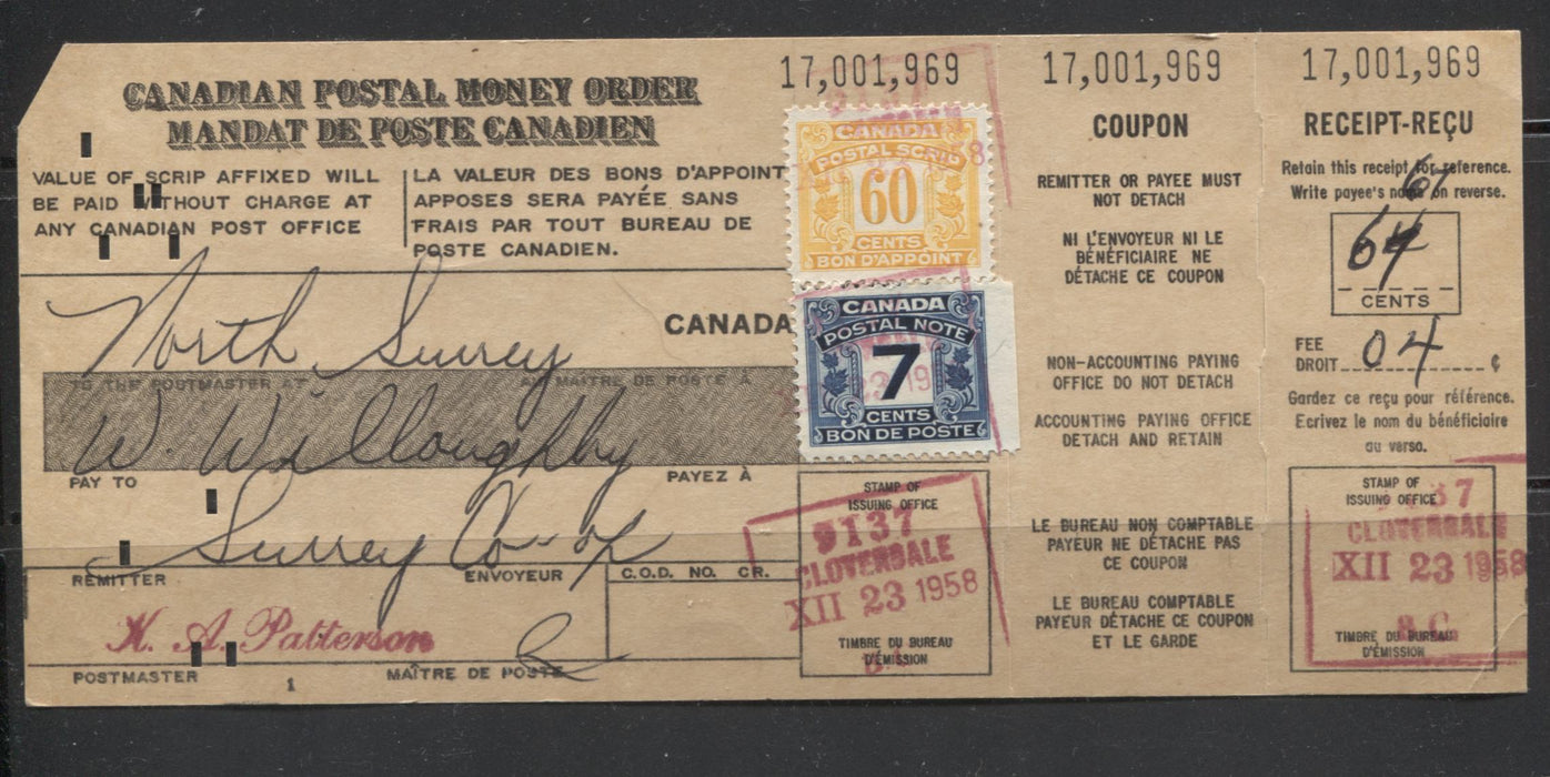 Canada #FPS9, FPS18 7c&60c First Postal Scrip Issue Used on Very Scarce 1958 Complete Postal Money Order Brixton Chrome