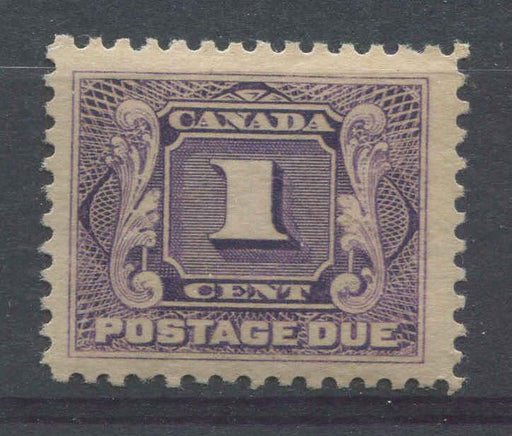 Canada #J1 (SG#D1) 1c Deep Reddish Lilac Postage Due Wet Printing No Visible Mesh F-68 OG Brixton Chrome