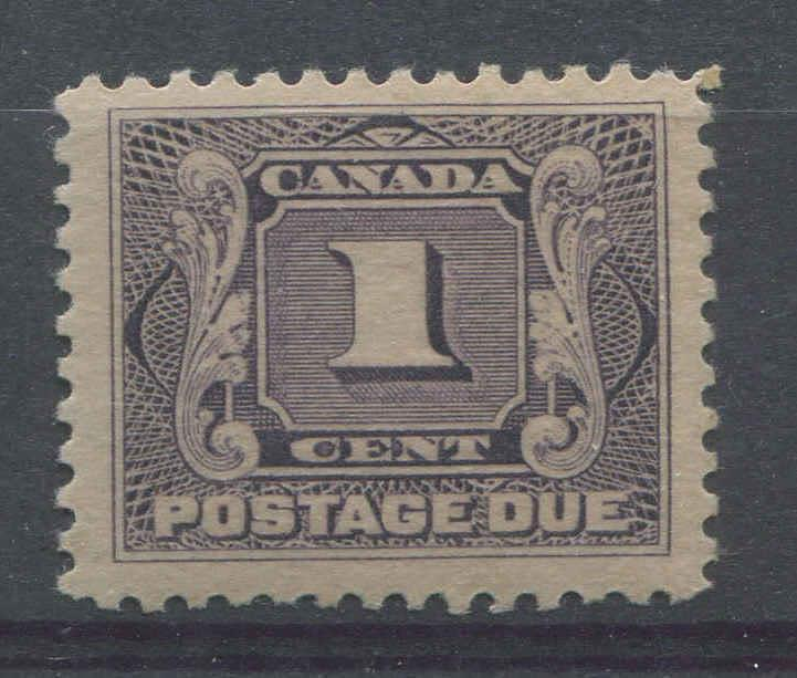 Canada #J1 (SG#D1) 1c Pale Blackish Lilac Postage Due Wet Printing, Fine Mesh Paper VF-78 NH Brixton Chrome