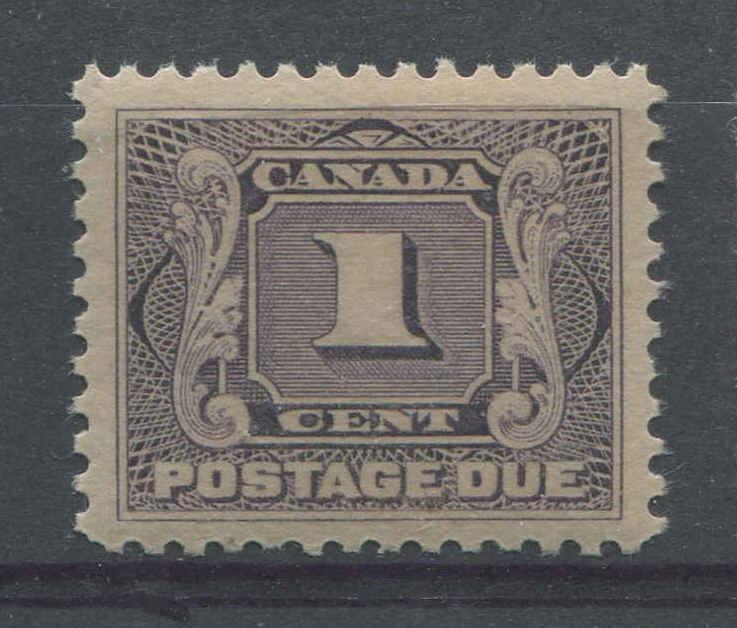 Canada #J1 (SG#D1) 1c Pale Blackish Lilac Postage Due Wet Printing, Fine Mesh Paper VF-84 NH Brixton Chrome