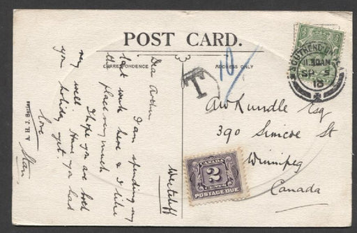 Canada #J2 (SG#D3) 2c Blackish Lilac Postage Due on 1913 Postcard from UK - XF-85 Brixton Chrome