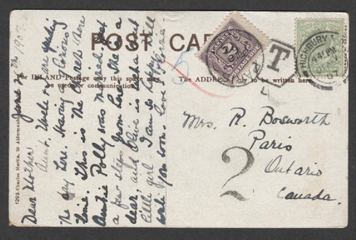 Canada #J2 (SG#D3) 2c Blackish Purple Postage Due on 1907 Postcard from UK - VF-81 Brixton Chrome