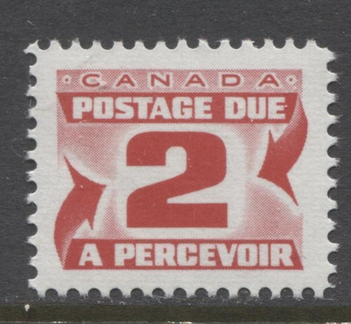 Canada #J29i (SG#D33) 2c Light Carmine Red 1973 Centennial Postage Due DF LV Ribbed Paper VF-80 NH Brixton Chrome