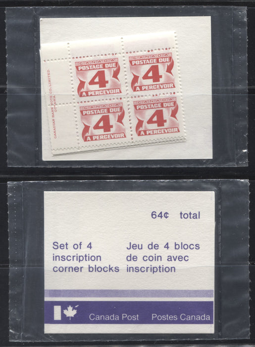 Canada #J31a 4c Carmine Red 1977-1982 Fourth Centennial Postage Due Issue, Canada Post Sealed Pack Of Plate Blocks, DF Paper and HF Type 2 Insert Brixton Chrome