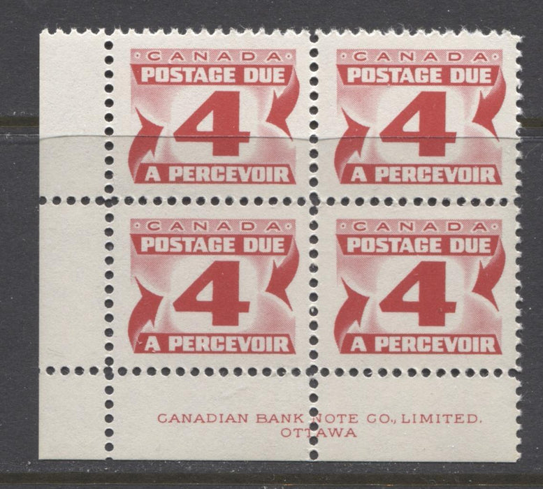 Canada #J31ii (SG#D35a) 4c Carmine Red 1973 Centennial Postage Due Ribbed LF Paper LV LL Block VF-75 NH Brixton Chrome