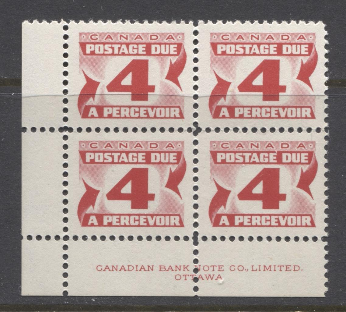 Canada #J31iii (SG#D35b)4c Carmine Red 1973 Centennial Postage Due Ribbed HB Paper LL Block VF-80 NH Brixton Chrome
