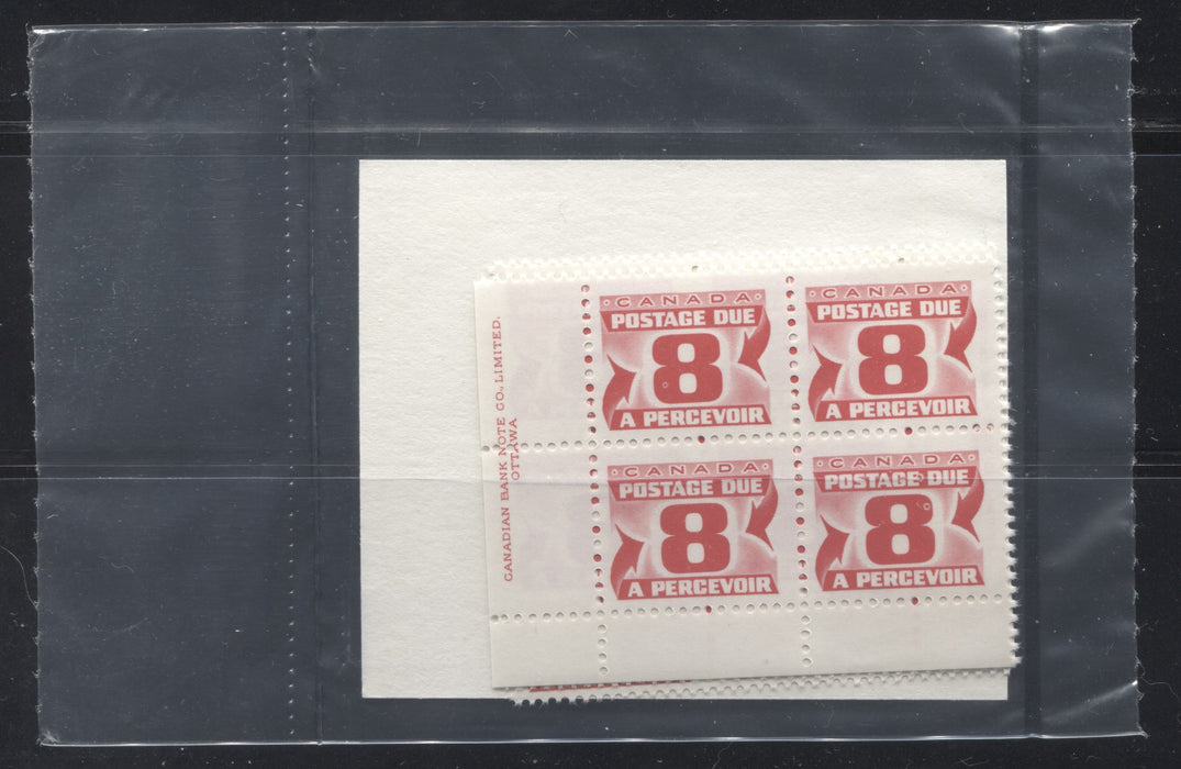 Canada #J34a 8c Carmine Red 1977-1982 Fourth Centennial Postage Due Issue, Canada Post Sealed Pack Of Plate Blocks, DF-fl Paper and LF Type 2 Insert, Donut Flaws on LR Stamp of the LL Block Brixton Chrome