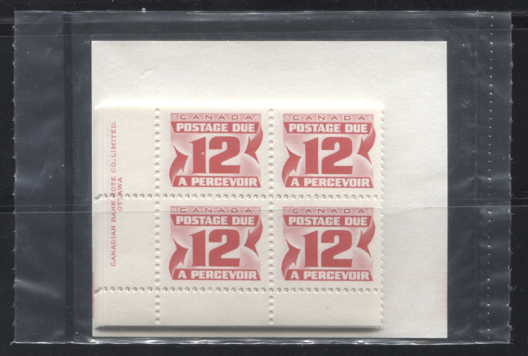Canada #J36a 12c Carmine Red 1977-1982 Fourth Centennial Postage Due Issue, Canada Post Sealed Pack Of Plate Blocks, DF Paper and LF Type 2 Insert Brixton Chrome
