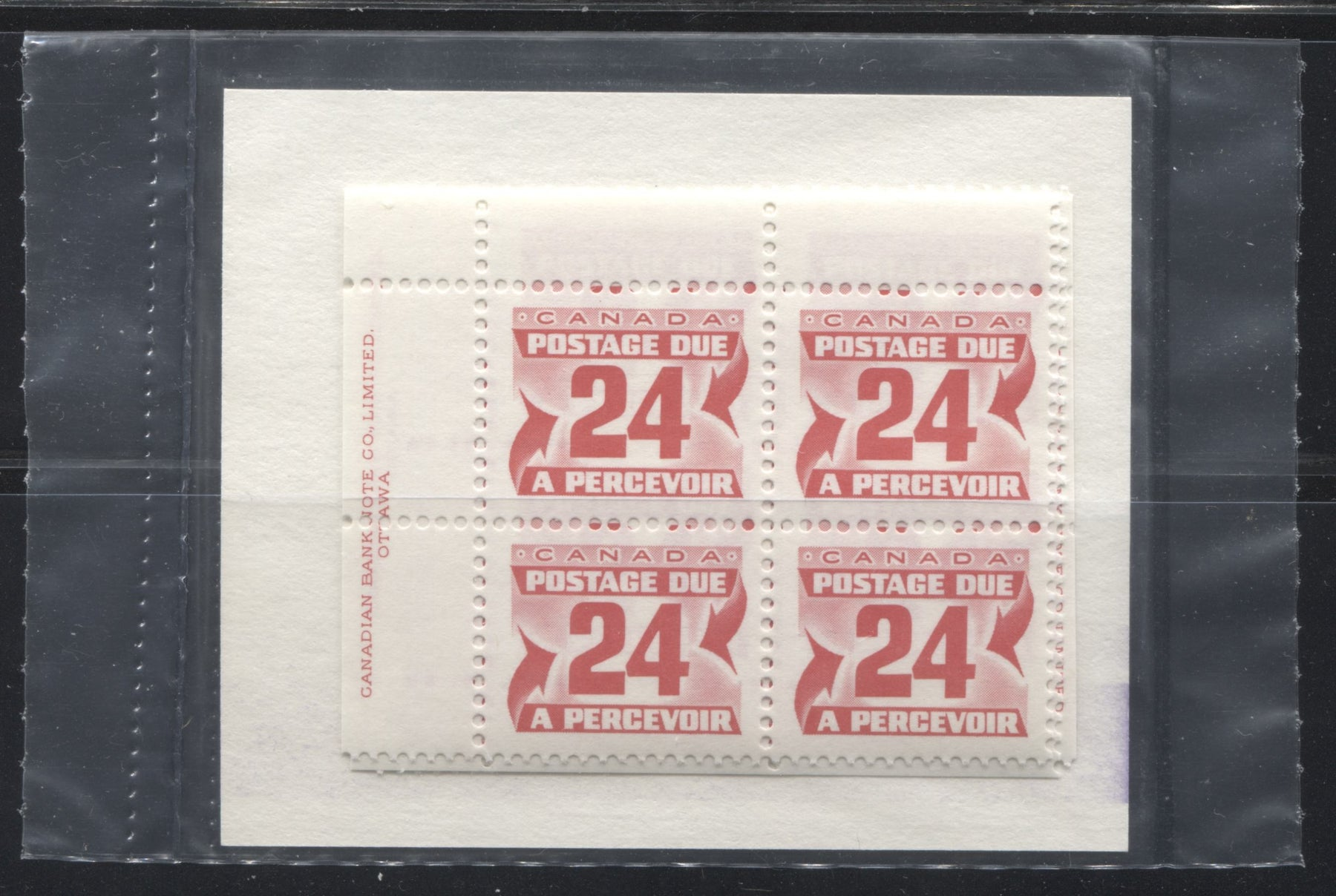 Canada #J39 24c Carmine Red 1977-1982 Fourth Centennial Postage Due Issue, Canada Post Sealed Pack Of Plate Blocks, LF Paper and HF Type 2b Insert Brixton Chrome
