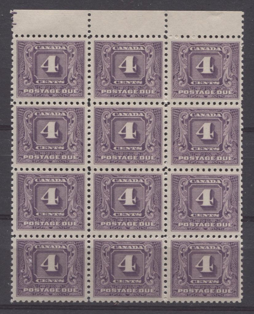 Canada #J8 (SG#D11)i 4c Deep Dull Reddish Lilac 1930 Postage Due Plate 1 Block of 12 VF-75 NH Brixton Chrome