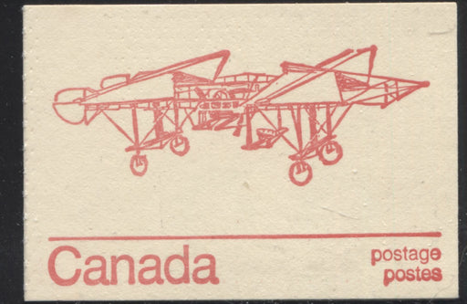 Canada Mc Cann #BK74d 1972-1978 Caricature Issue, Complete 25¢ Booklet, Dead Paper, Clear Latex Sealer, 70 mm Pane, Spectacular Misperf and Gibson Twin Plane Cover Brixton Chrome VF-80 Gibson Cover