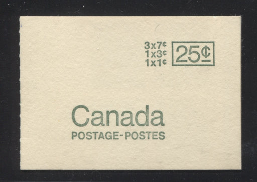 "Canada McCann #BK66c 1967-1973 Centennial Issue, Complete 25¢ Booklet, Low Fluorescent Paper, Type 2, Black Sealing Strip Brixton Chrome VF-80 Type 2 - ""Pre-Stamped"" & Black Sealing Strip Low Fluorescent Flecked & Emerald Green"