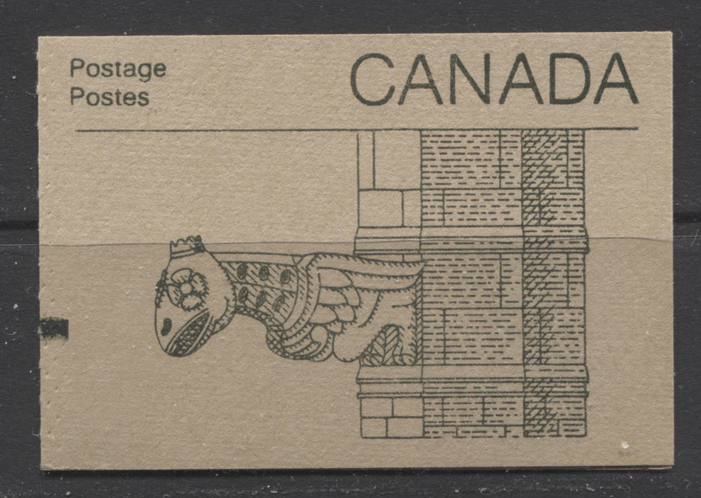 "Canada McCann #BK96Ba-Bc 1982-1987 Artifacts and National Parks Issue, Complete 50¢ Counter Booklet, Coated Harrison Paper, Dull Paper, Abitibi Cover, Type 2 ""H"" on Back Cover, Type 2 Green Bars on Tab Brixton Chrome VF-75 Gargoyle Cover Normal GT-4 on 3/2 and No Perf. Holes in Tab"