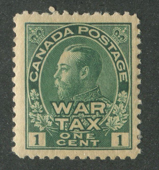 Canada #MR1 (SG#228) 1c Light Myrtle Green 1915 Admiral War Tax Fine Mesh Paper F-68 OG Brixton Chrome