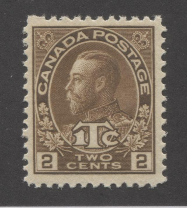 Canada #MR4i 2c + 1c Deep Yellow Brown King George V, 1916 Admiral War Tax Issue A Very Fine NH Example of the Die 2 Brixton Chrome