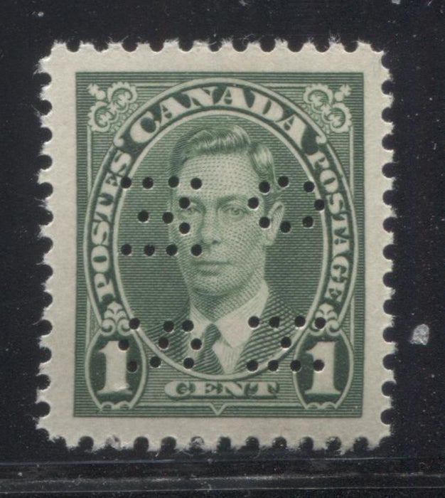 Canada #O231 1c Green King George VI, 1937-1942 Mufti Issue, A Very Fine Mint NH Example of the 4-Hole OHMS Perfin, Type 1 Brixton Chrome