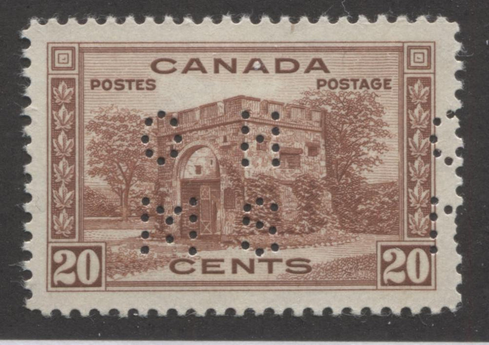 Canada #O243 20c Red Brown Fort Garry 1937-1942 Mufti Issue, Fine Mint NH Example of the Type 1 4-Hole OHMS Perfin Brixton Chrome