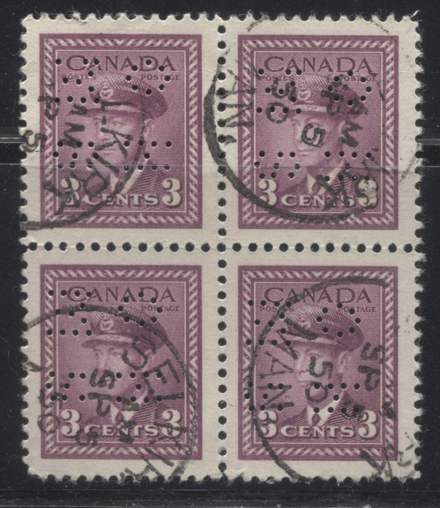 Canada #O252 3c Rose Purple King George VI, 1942-1949 War Issue, A Very Fine Used Block of the 4-Hole OHMS Perfin, Type 1 Brixton Chrome