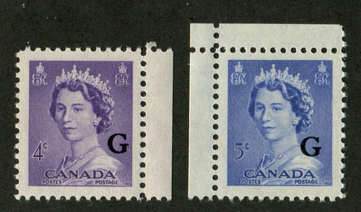 "Canada #O36-O37 (SG#O199-O200) 4c & 5c Queen Elizabeth II ""G"" Ovpt 1953 Karsh Issue VF-84 NH Brixton Chrome"