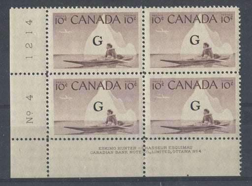 Canada #O39a (SG#O206a) 10c Inuk & Kayak 1954-62 Wilding Issue Plate 4 LL Flying G Overprint DF Iv. Smooth Paper VF-80 NH Brixton Chrome
