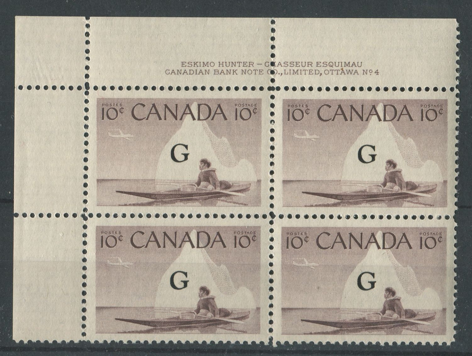 Canada #O39a (SG#O206a) 10c Inuk & Kayak 1954-62 Wilding Issue Plate 4 UL Flying G DF Iv Smooth Paper VF-84 NH Brixton Chrome