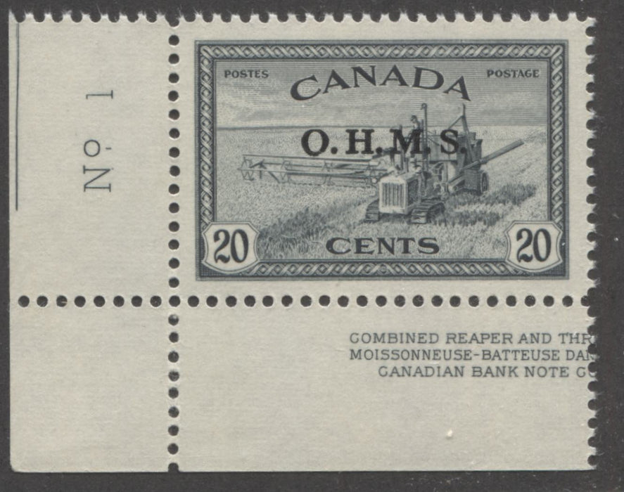 Canada #O8 20c Greenish Black Combine Harvester 1946-1952 Peace Issue, Overprinted O.H.M.S, A Superb Mint NH Example Brixton Chrome