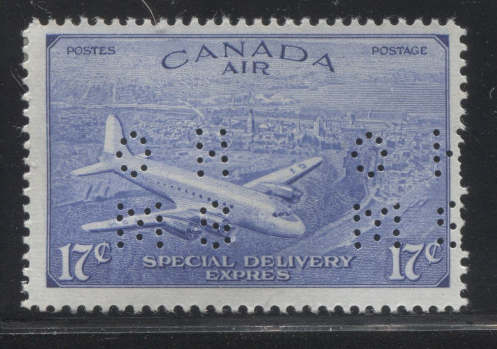 Canada #OCE3 17c Deep Ultramarine D.C. 4-M Airplane, 1946-1951 Peace Issue, A Fine Mint Single of the Type 2 4-Hole OHMS Perfin Brixton Chrome