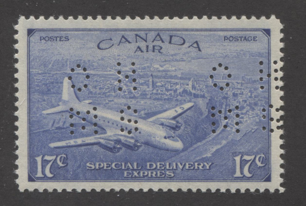 Canada #OCE3 17c Deep Ultramarine D.C 4-M Airplane, 1946-1951 Peace Issue, Very Fine Mint OG Example of the Type 1 4-Hole OHMS Perfin Brixton Chrome