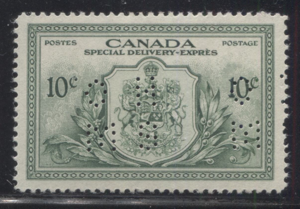 Canada #OE11 10c Green Arms of Canada, 1946-1951 Peace Issue, A Very Fine Mint Single of the Type 2 4-Hole OHMS Perfin Brixton Chrome