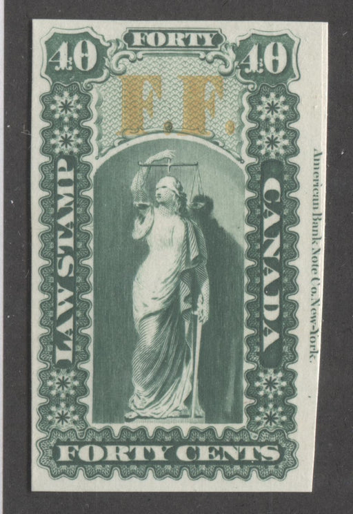 Canada #OL20P 40c Green and Yellow, Justice and Scales, 1864 Ontario Law Issue, Imprint Plate Proof on Card, Overprinted FF (Fee Fund) Brixton Chrome