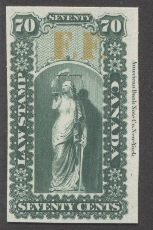 Canada #OL23P 70c Deep Green and Yellow, Justice and Scales, 1864 Ontario Law Issue Overprinted F.F. VF Example of the Plate Proof on Card Brixton Chrome