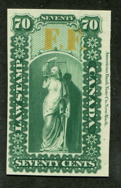 Canada #OL23P 70c Green 1864 Ontario Law Issue Proof F.F Overprint VF-84 Brixton Chrome