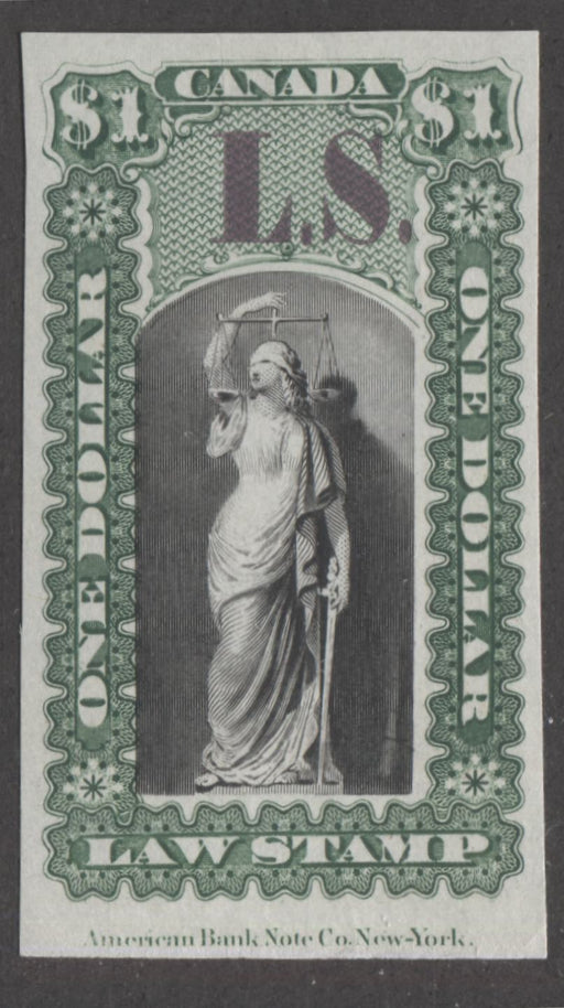 Canada #OL41a $1 Black, Deep Green and Lilac, Justice and Scales, 1864 Ontario Law Issue Overprinted L.S, Plate Proof on India Paper Brixton Chrome