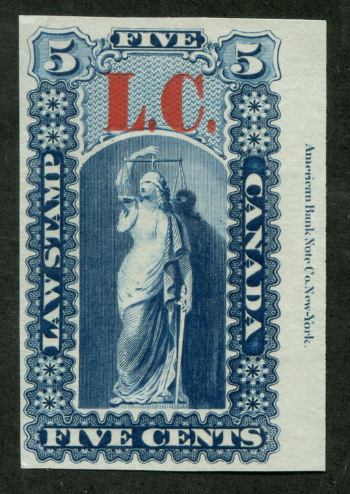 Canada #QLTC 5c Dark Blue 1864 Quebec Law Issue Proof LC Overprint VF-84 Brixton Chrome