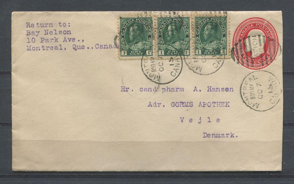 Canada #U16 2c Red Envelope Uprated And Sent From Montreal to Denmark- VF-75 Brixton Chrome