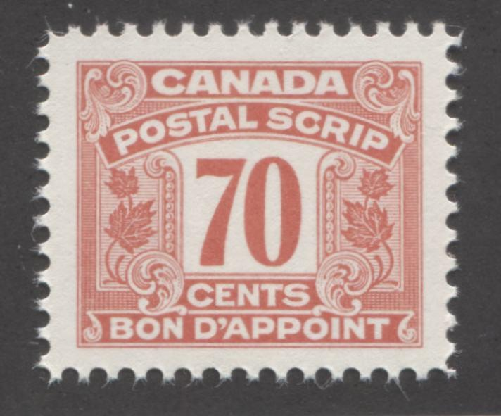 Canada Van Dam #FPS38 70c Deep Salmon 1967 Second Postal Scrip Issue, VFNH Example Brixton Chrome