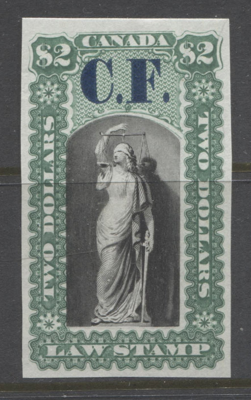 Canada Van Dam #OL12P $2 Green and Black 1864 Ontario Law Issue, Plate Proof on India Paper With Blue CF Overprint Brixton Chrome