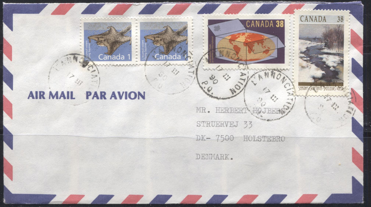 Canada #1155, 1251, 1256 1c Flying Squirrel, 38c World Trade & 38c Christmas, Combination Usage on 1990 Cover to Denmark