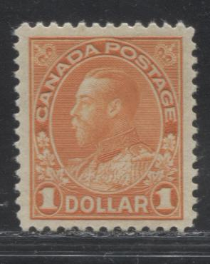 Canada #122 $1 Orange King George V,  Admiral Issue Dry Printing, A Very Fine NH Example