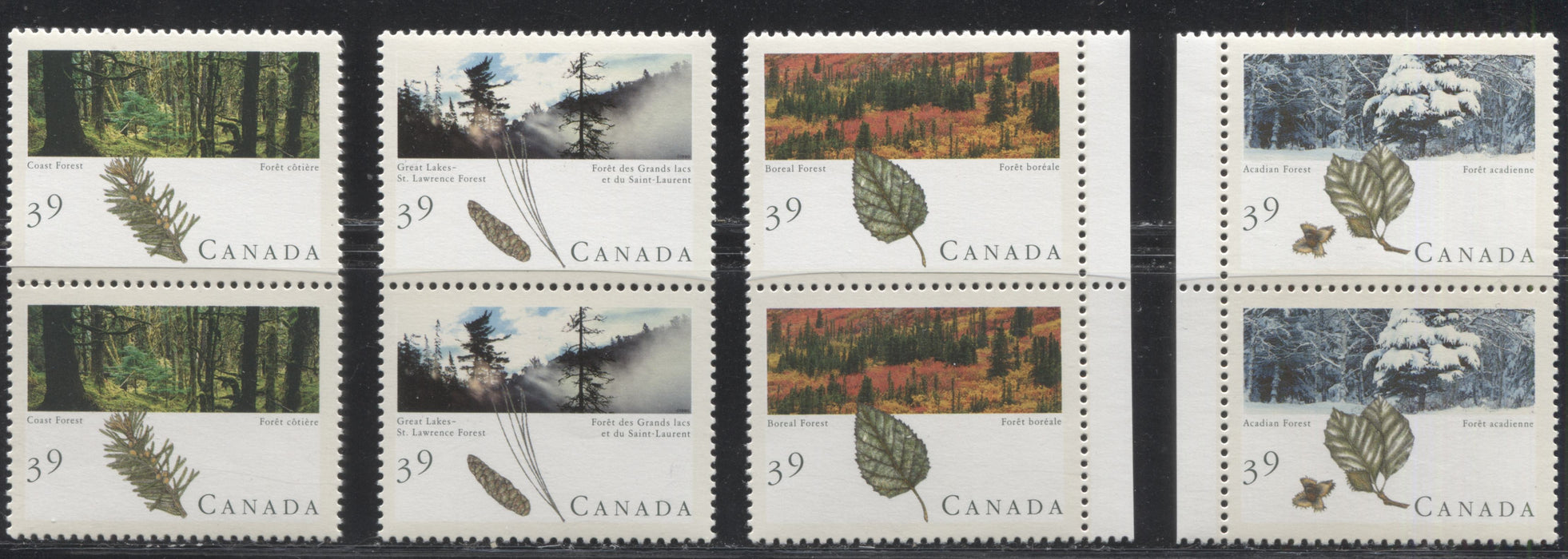 Canada #1283i-1286i 39c Multicoloured, 1990 Forests Issue, a VFNH Set of Identical Vertical Pairs