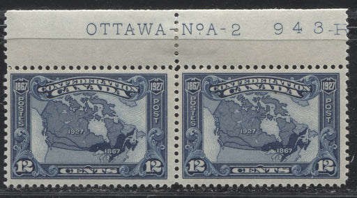 Canada #145 (SG#270) 12c Bright Indigo Map 1927 Confederation Issue, A Fine NH Pair With Plate 2 Inscription