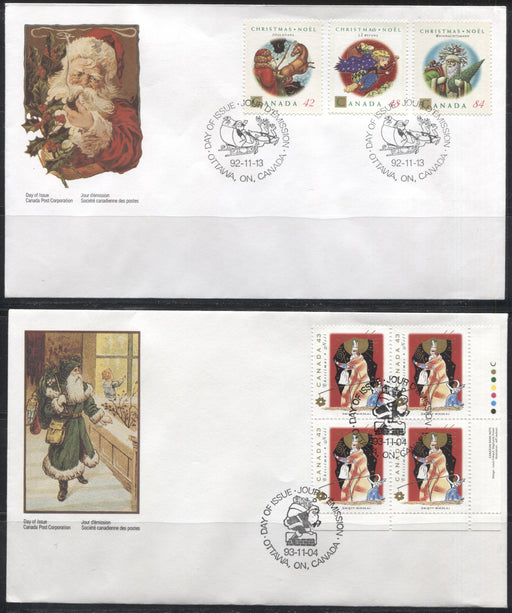 Canada #1452-1454 and 1499-1501 42c Multicolored-86c Multicolored Christmas Personages 1992-1993 Issues. 4 First Day Covers Featuring Singles and Plate Blocks.