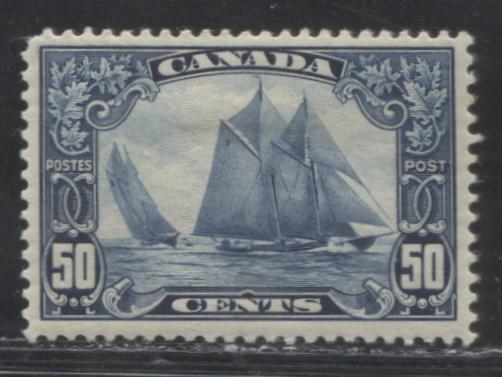 Canada #158 50c Deep Blue Bluenose Schooner, 1928-1930 Scroll Issue, A Fine Mint Example