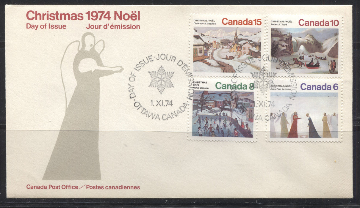 "Canada #650ii-653 6c-15c Multicoloured, 1974 Christmas Issue, A VF Combination First Day Cover, Showing the Scarce ""Tear in Dress"" Variety From a Different Position on the 6c"