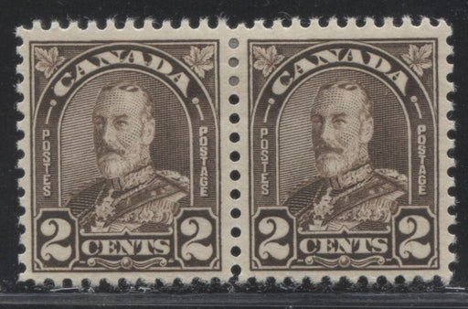 Canada #166b 2c Blackish Brown King George V 1930-35 Arch Issue Die 1, A VF OG Pair Showing an Unlisted Variety: Scratch Through Right 2 on Right Stamp