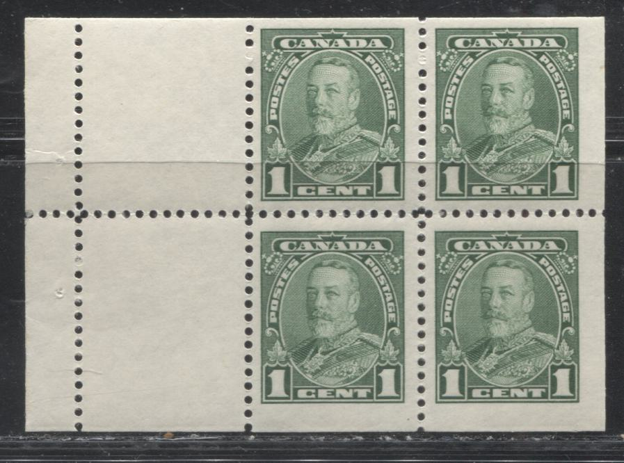 Canada #217a (SG#341b) 1c Green King George V Booklet Pane of 4 + 2 Labels, A Fine Disturbed OG Example