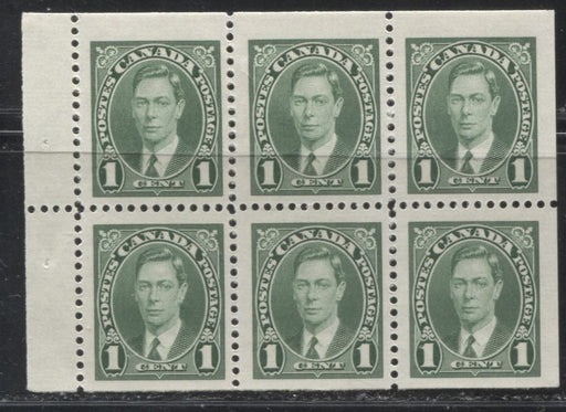 Canada #231b 1c Green 1937-42 Mufti Issue, Booklet Pane of 6, Smooth Vertical Wove Paper, White Gum, Fine Mint NH