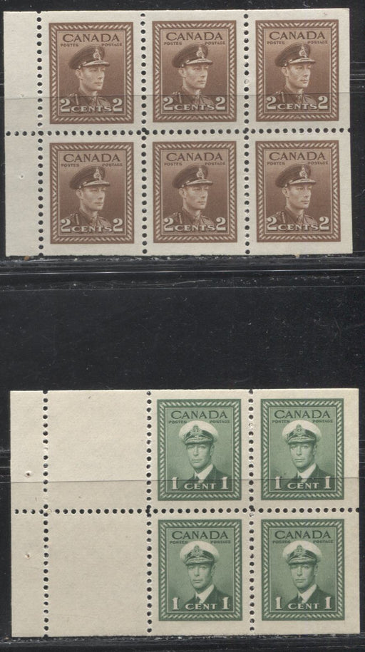 Canada #249a, 250b 1c Green-2c Brown King George VI 1942-49 War Issue, 2 Different Booklet Panes, All VFNH